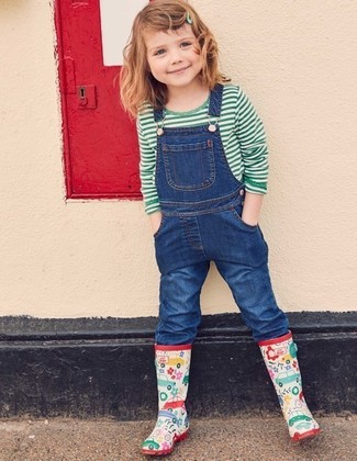 How to wear: green horizontal striped t-shirt, blue denim overalls, multi colored rain boots