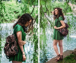 How to wear: green lace casual dress, dark brown leather gladiator sandals, brown leopard backpack