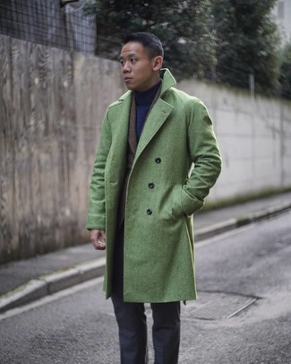 How to wear: green overcoat, dark brown plaid wool blazer, navy turtleneck, charcoal dress pants