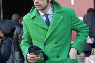 Green Pea Coat Men - Tradingbasis