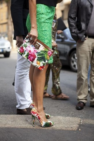 How to wear: green lace pencil skirt, white floral leather pumps, white floral clutch, silver ring