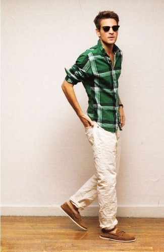 Men's Green Plaid Long Sleeve Shirt, Beige Chinos, Brown Suede Boat Shoes