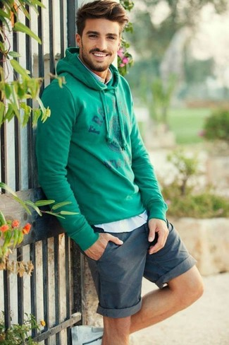 How to Wear a Mint Hoodie For Men: If you're scouting for an urban yet sharp outfit, consider pairing a mint hoodie with teal shorts.