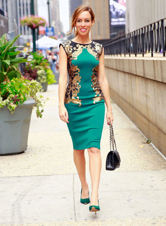 Rock a green sheath dress for a work-approved look. Green suede pumps are a smart choice to complete the look.