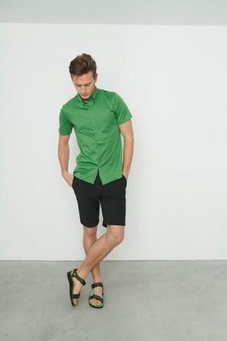 Men's Green Short Sleeve Shirt, Black Shorts, Dark Green Leather Sandals
