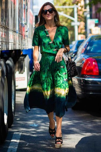 How to wear: green tie-dye wrap dress, black canvas wedge sandals, black studded suede bucket bag
