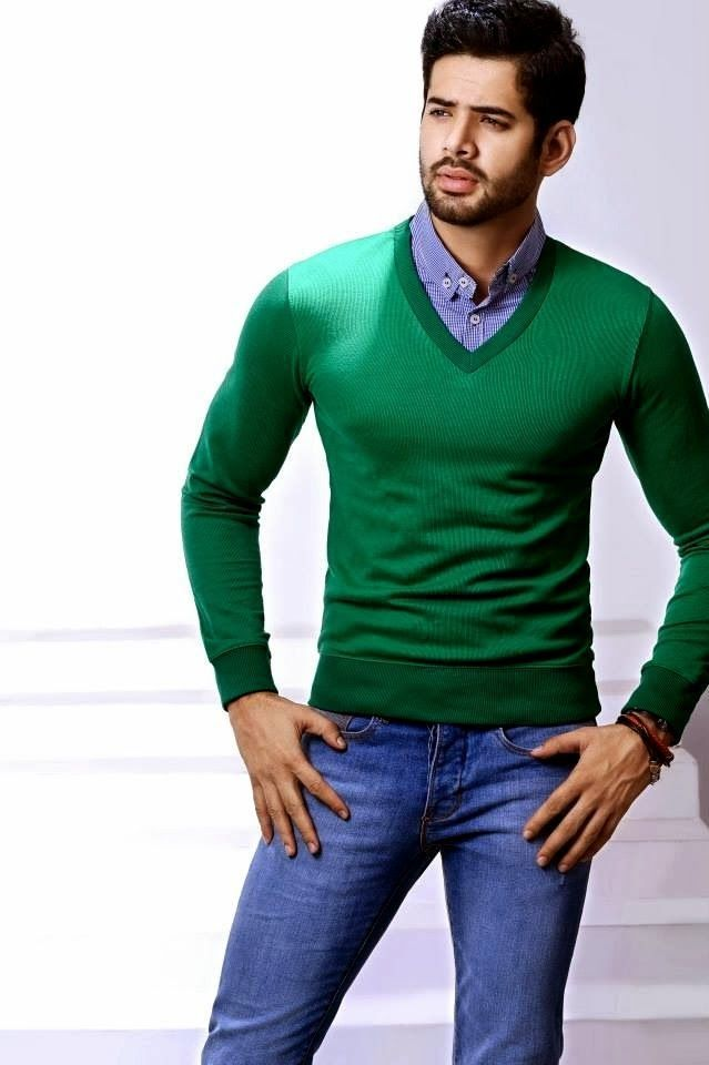 Men's Green V-neck Sweater, Blue Gingham Long Sleeve Shirt, Blue ...