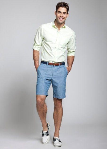 Men's Green-Yellow Long Sleeve Shirt, Blue Shorts, White ...