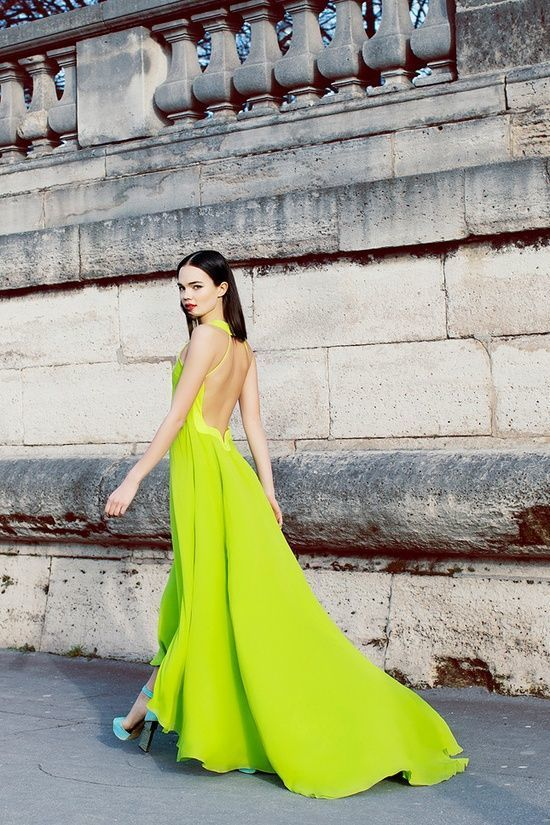 Green yellow and blue maxi dress