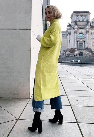 14578b9ee53 ... Women s Green-Yellow Sweater Dress
