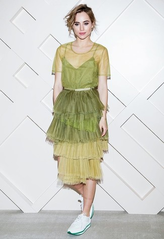 How to wear: green-yellow tulle midi dress, white low top sneakers