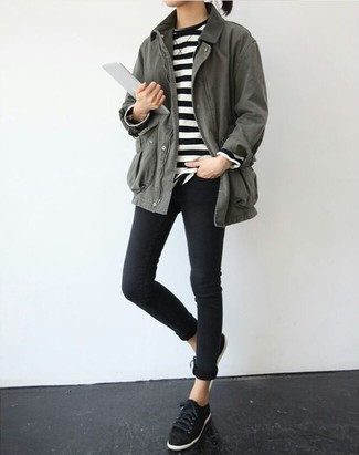 How to wear: grey anorak, black and white horizontal striped crew-neck sweater, black skinny jeans, black suede low top sneakers