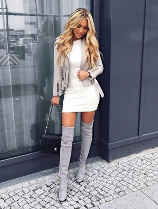 How to wear: grey suede biker jacket, white sheath dress, grey suede over the knee boots, black quilted leather crossbody bag