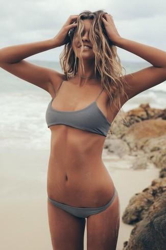 Grey Sporty Cross Back Bikini Top Mix Match