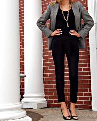 Women's Grey Blazer, Black Velvet Jumpsuit, Black and Gold Leather Pumps, Gold Pendant