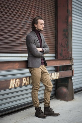 How to wear: grey wool blazer, burgundy turtleneck, khaki chinos, dark brown leather casual boots