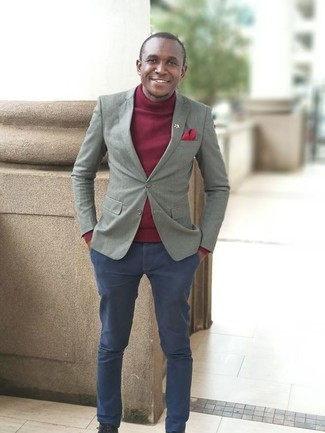 How to wear: grey blazer, burgundy turtleneck, navy chinos, red pocket square