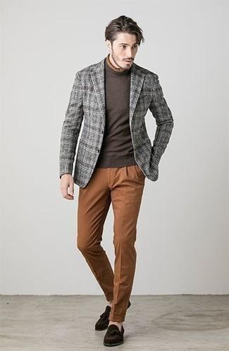 How to wear: grey plaid wool blazer, dark brown turtleneck, tobacco chinos, dark brown suede tassel loafers