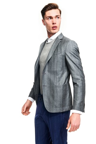 How to wear: grey vertical striped blazer, grey crew-neck sweater, white dress shirt, navy vertical striped dress pants