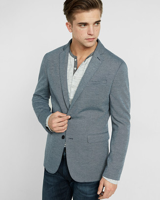 How To Wear Navy Jeans With A Grey Blazer 122 Looks Men S Fashion
