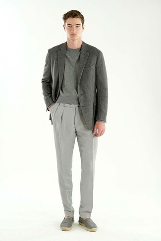 How to wear: grey blazer, grey sweatshirt, grey dress pants, grey canvas espadrilles