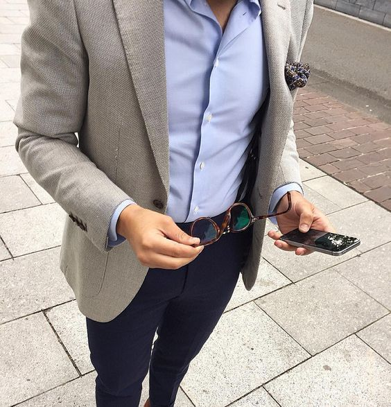 How To Wear Navy Chinos With a Grey Blazer | Men's Fashion