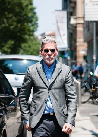 Nick Wooster wearing Grey Blazer, Light Blue Long Sleeve Shirt, Charcoal Dress Pants