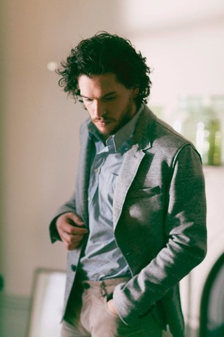 Kit Harington wearing Grey Blazer, Light Blue Long Sleeve Shirt, Khaki Chinos