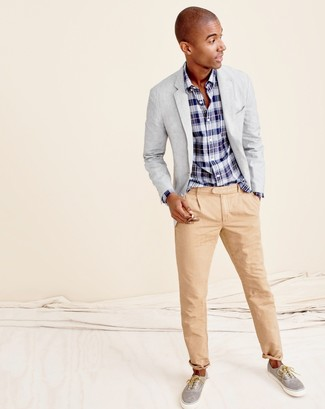 How to wear: grey blazer, navy and white plaid long sleeve shirt, khaki chinos, grey plimsolls