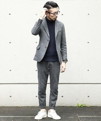 How to Wear Sneakers For Men: For an effortlessly polished look, try teaming a grey wool blazer with grey wool chinos — these pieces go perfectly well together. Complete your outfit with sneakers to mix things up a bit.