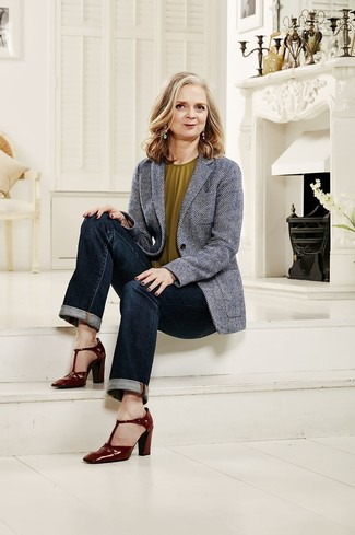 How to Wear a Grey Herringbone Blazer For Women (2 looks   outfits ... 5dd7483a3