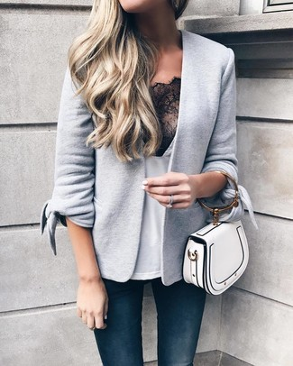 White Leather Handbag Casual Outfits: This pairing of a grey knit blazer and a white leather handbag makes for the ultimate chic relaxed style.