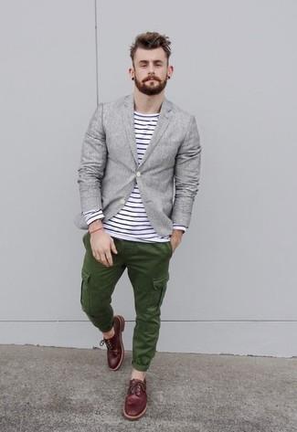 Men's Grey Linen Blazer, White and Navy Horizontal Striped Long ...