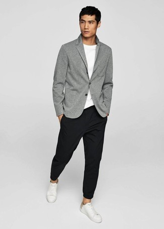 Men's Grey Vertical Striped Blazer, White Crew-neck T-shirt, Black Chinos, White Leather Low Top Sneakers