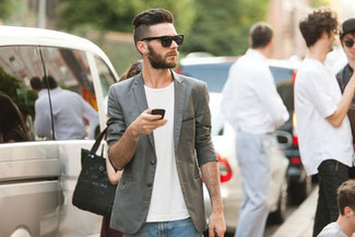 Grey Blazer with Blue Jeans Outfits For Men: A grey blazer and blue jeans are among the basic elements of any properly edited wardrobe.