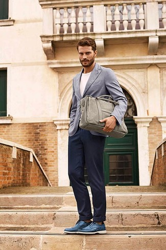 Jamie Dornan wearing Grey Blazer, White Crew-neck T-shirt, Navy Chinos, Blue Leather Derby Shoes
