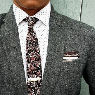 How to wear: grey wool blazer, white polka dot dress shirt, black floral tie, white and brown pocket square