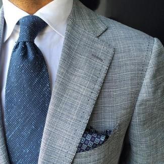 How to wear: grey blazer, white dress shirt, blue tie, navy print pocket square