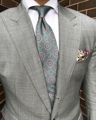 How to wear: grey blazer, white dress shirt, mint print silk tie, beige print pocket square