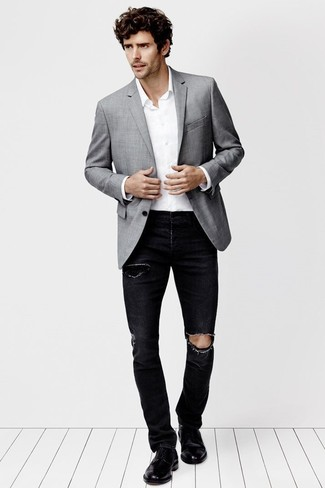 How To Wear a Grey Blazer With Black Pants | Men's Fashion