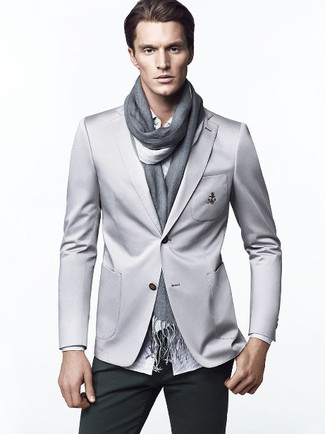How to wear: grey blazer, white vertical striped long sleeve shirt, dark green chinos, grey scarf