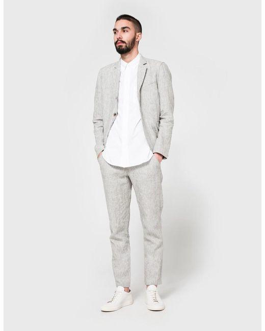 7afefcf28b90 Men's Grey Linen Blazer, White Long Sleeve Shirt, Grey Linen Chinos, White  Leather