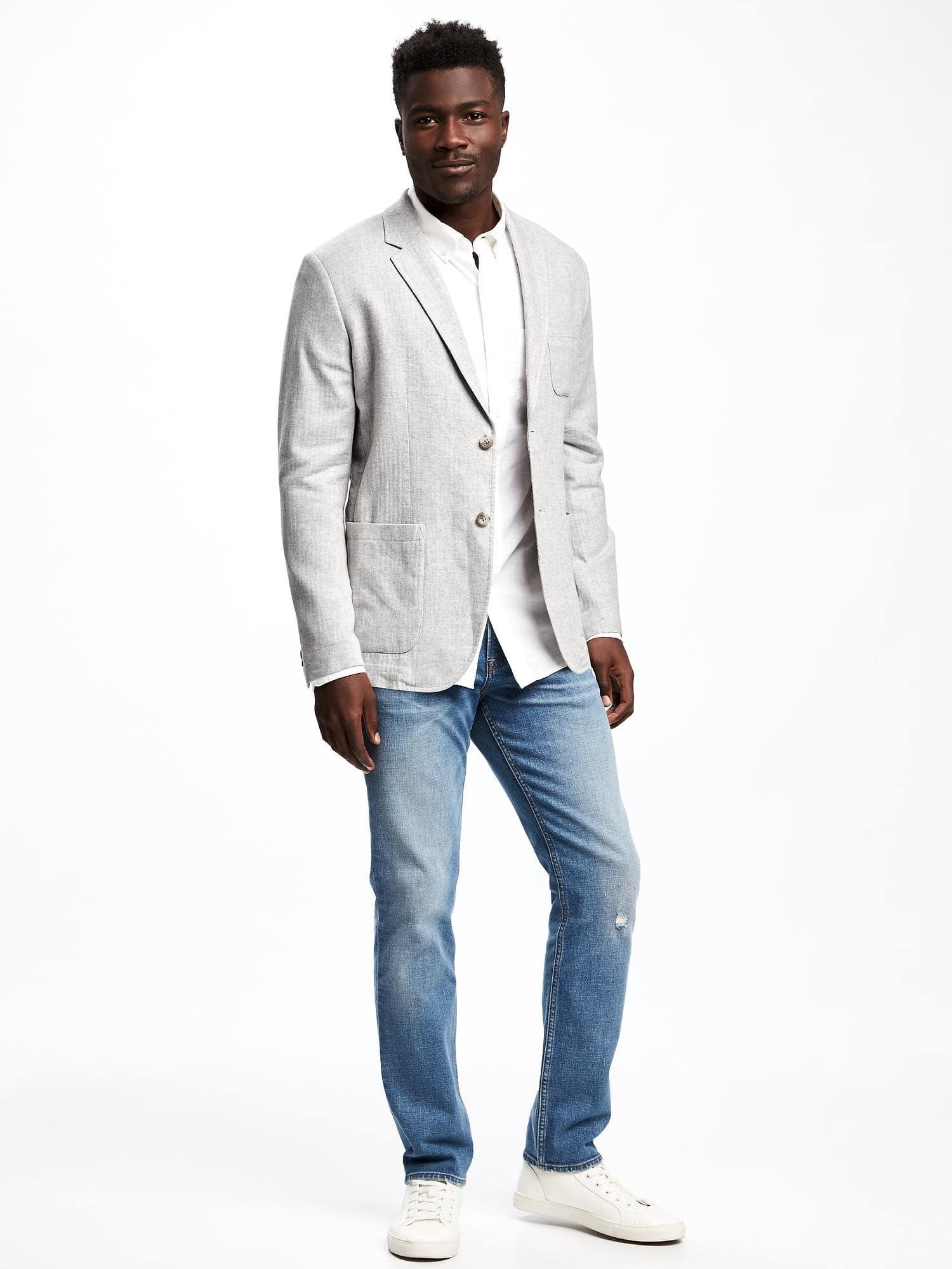 6916d2a0561ac How To Wear Light Blue Jeans With a Grey Blazer For Men (10 looks ...