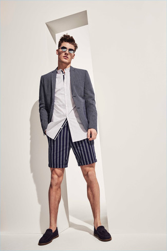 How to wear: grey blazer, white vertical striped long sleeve shirt, navy vertical striped shorts, black suede tassel loafers