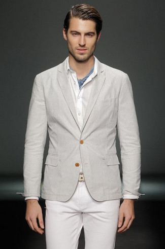 Rock a grey sportcoat with white jeans for a dapper casual get-up.