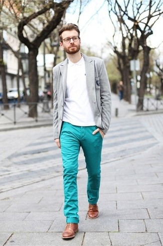 Men's Grey Wool Blazer, White Polo, Aquamarine Chinos, Tan Leather Brogues