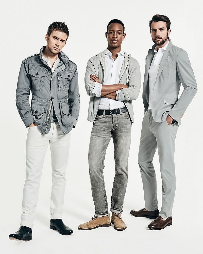 14aa92780a16 Men's Grey Blazer, White Polo, Grey Dress Pants, Dark Brown Leather Loafers