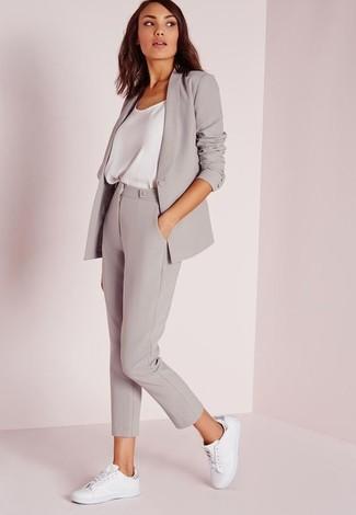 How to wear: grey blazer, white silk tank, grey capri pants, white low top sneakers