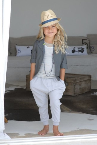 How to wear: grey blazer, white tank top, white trousers, beige hat