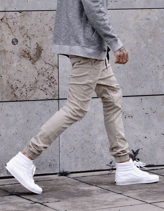 How to wear: grey bomber jacket, beige sweatpants, white leather high top sneakers